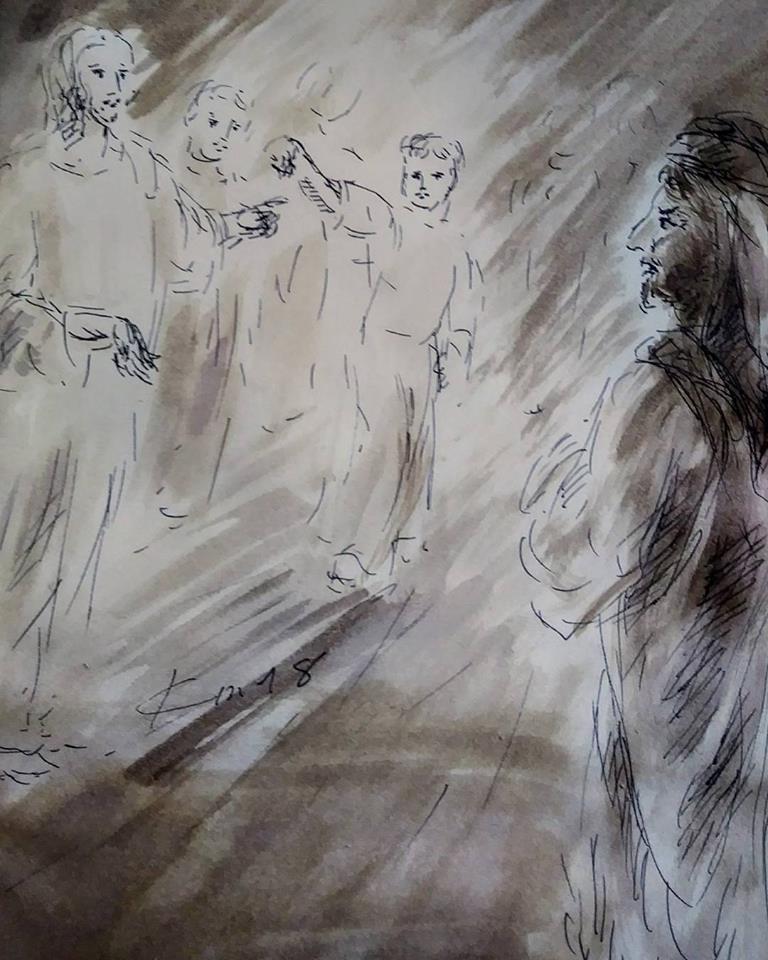 17 janvier 2018 image evangile du jour illustre par un dessin au lavis de jean joseph chevalier