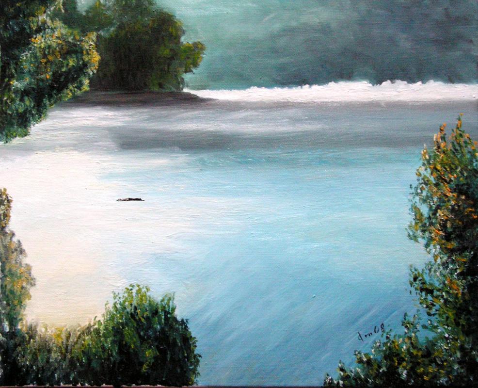 Bord d un lac peinture d un paysage huile sur toile de jean joseph chevalier