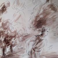 1 avril 2018 evangile du jour illustre par un dessin au lavis de jean joseph chevalier