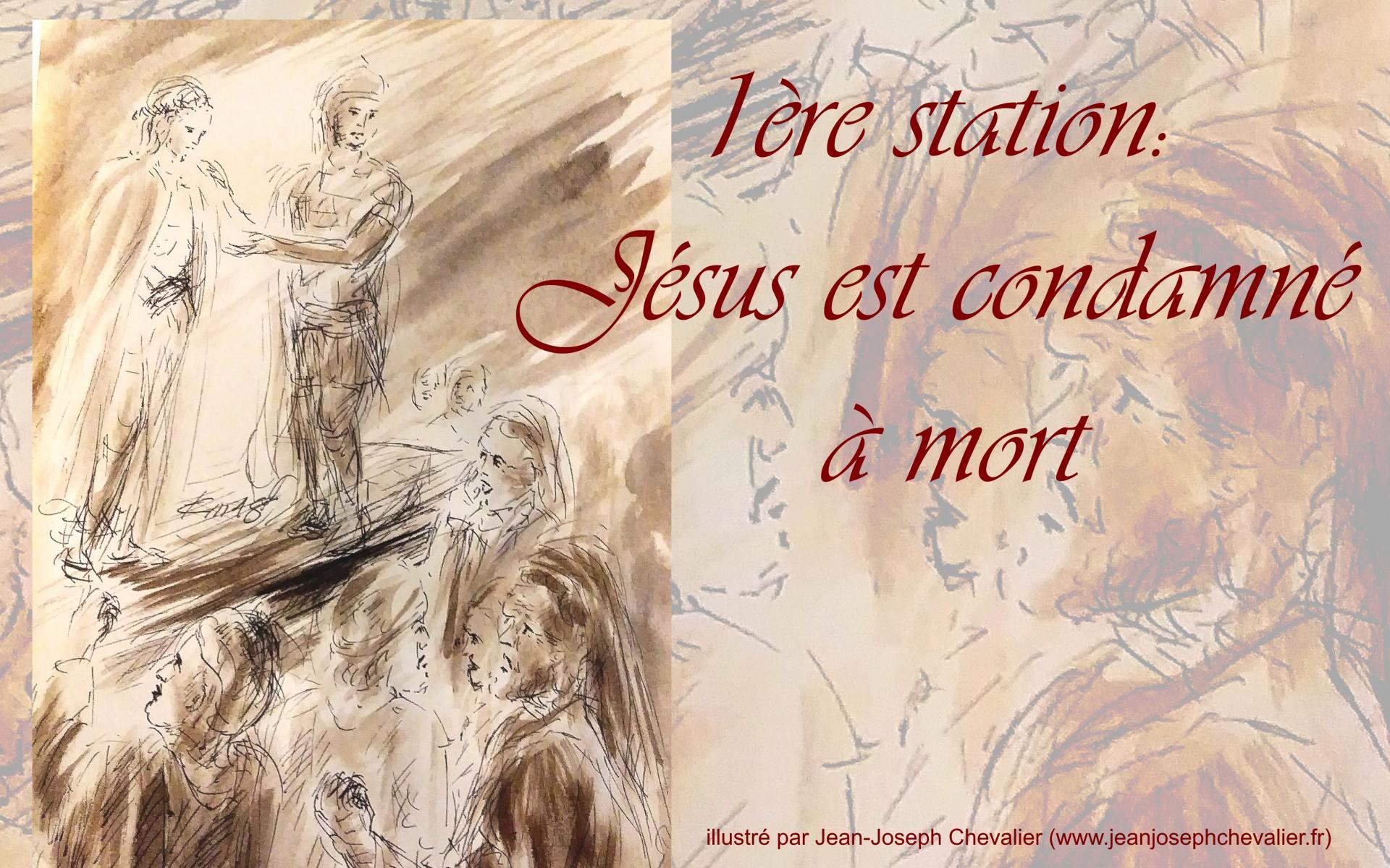 1 chemin de croix premiere station jesus condamne dessin au lavis de jean joseph chevalier i