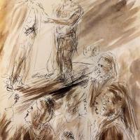 1 chemin de croix premiere station jesus condamne dessin au lavis de jean joseph chevalier
