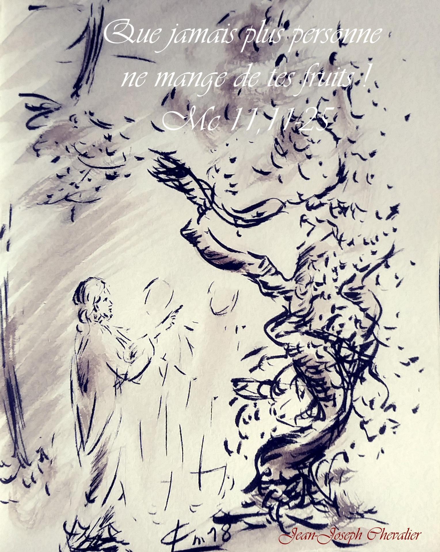 1 Juin 2018, évangile du jour illustré par un dessin au lavis