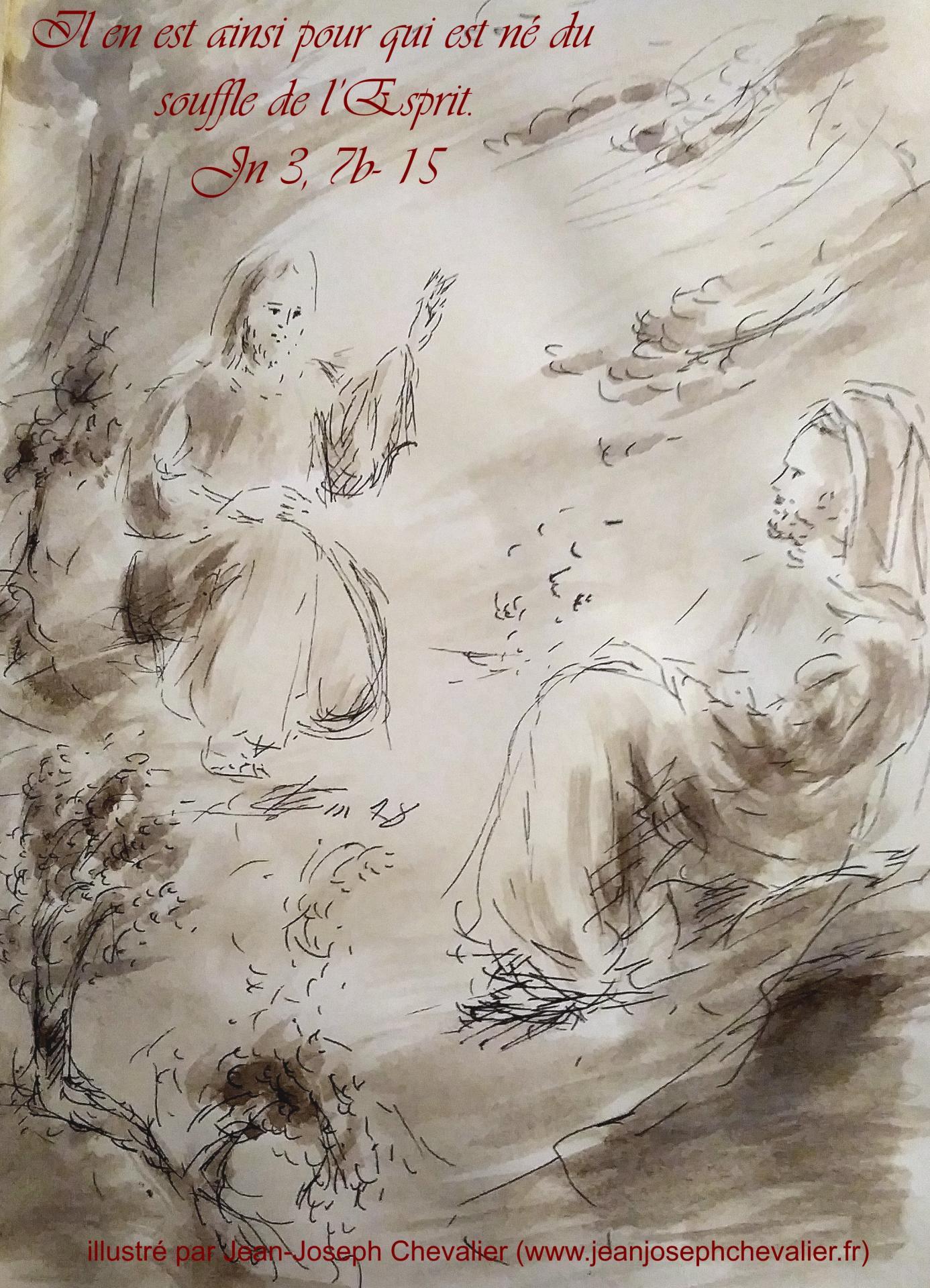 10 avril 2018 evangile du jour illustre par un dessin au lavis de jean joseph chevalier image