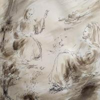 10 avril 2018 evangile du jour illustre par un dessin au lavis de jean joseph chevalier