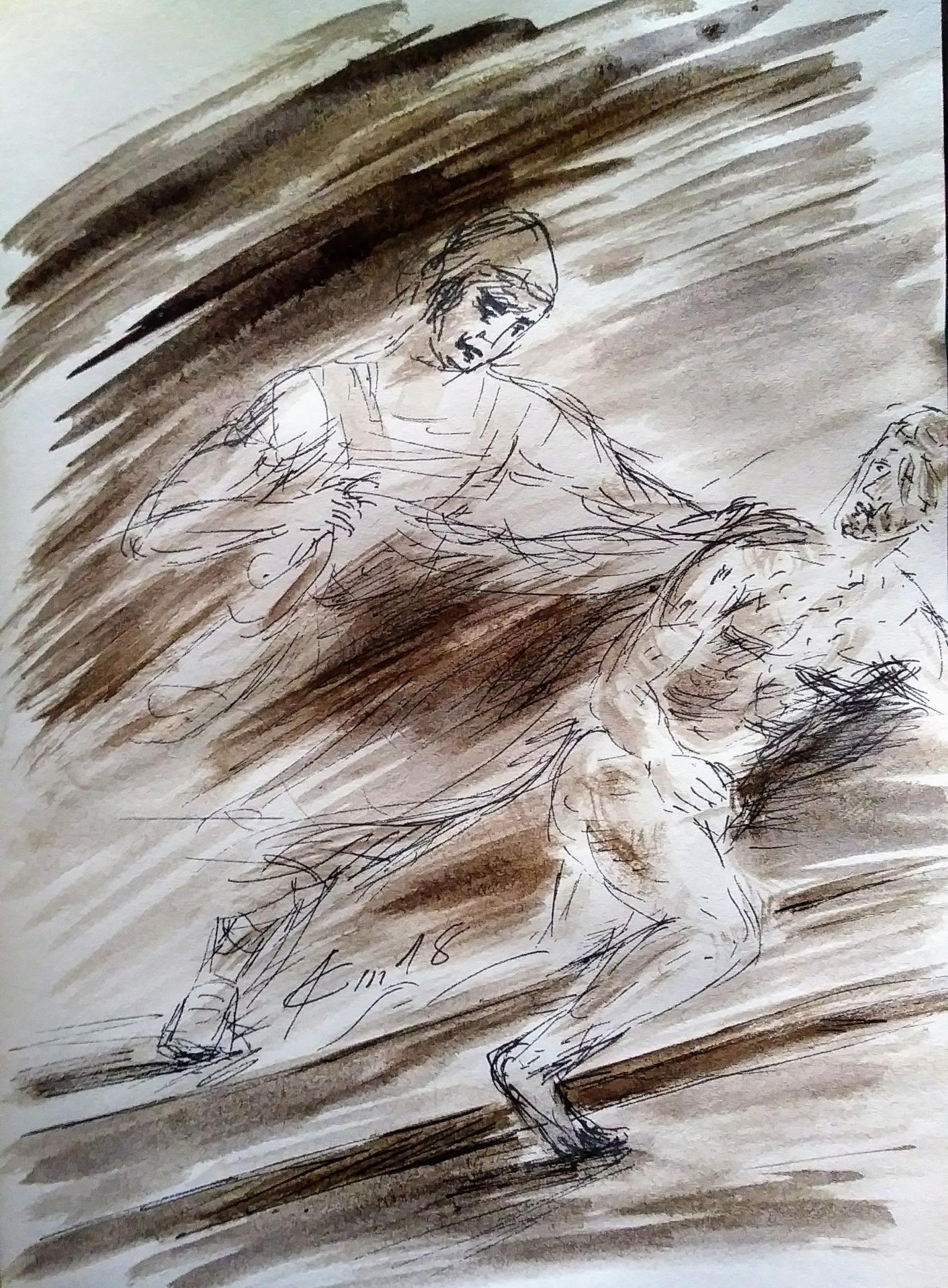 10 chemin de croix dixieme station jesus est depouille de ses vetements dessin au lavis de jean joseph chevalier