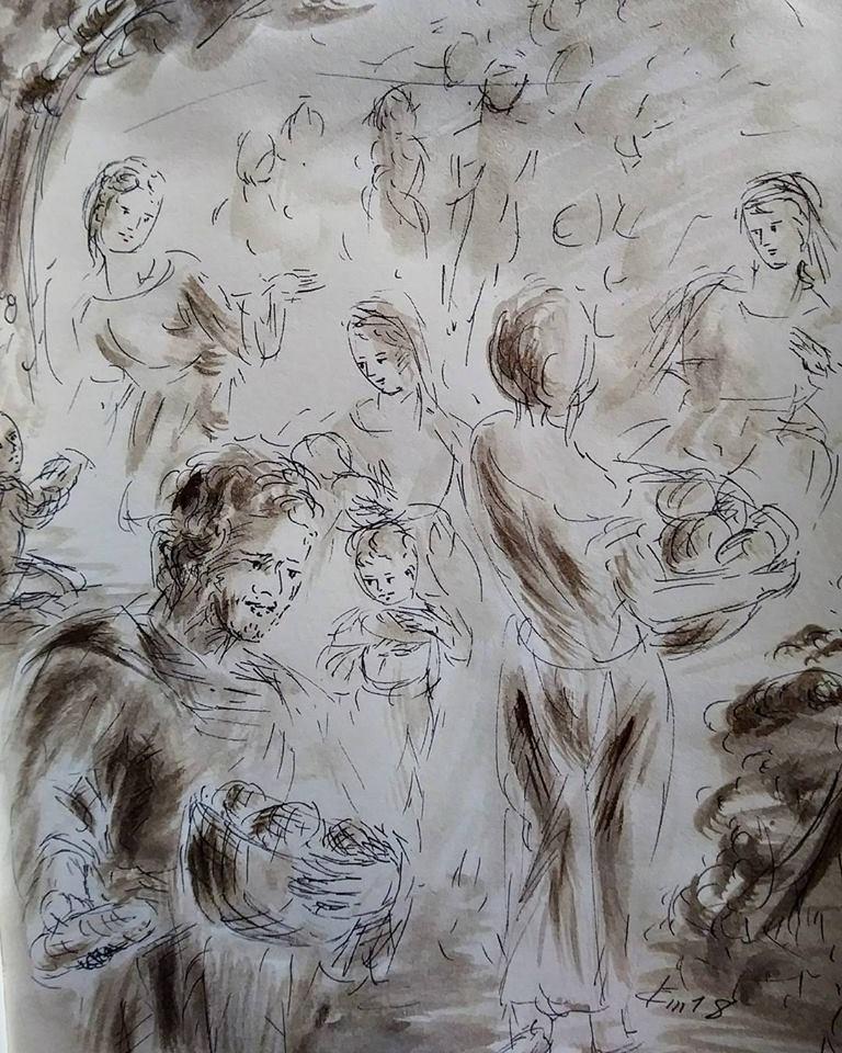 10 février 2018, évangile du jour illustré par un dessin au lavis
