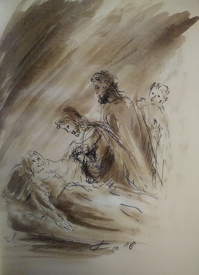 10 janvier 2018 image evangile du jour illustre par un dessin au lavis de jean joseph chevalier