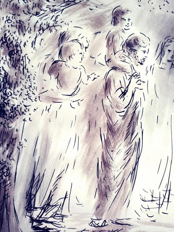 10 juin 2018 evangile du jour illustre par un dessin au lavis de jean joseph chevalier 1