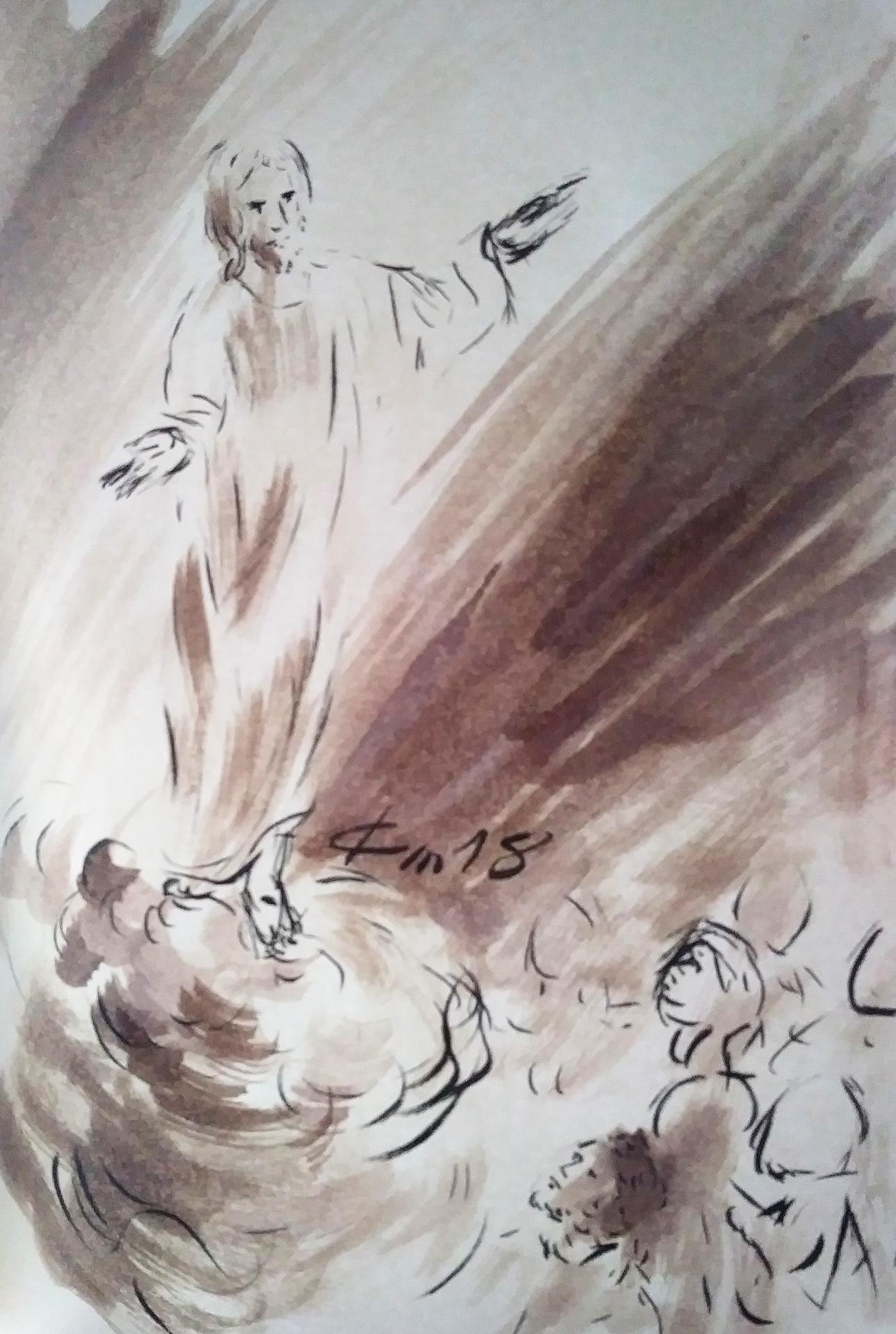 10 Mai 2018, évangile du jour illustré par un dessin au lavis