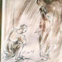10 mars 2018 evangile du jour illustre par un dessin au lavis de jean joseph chevalier