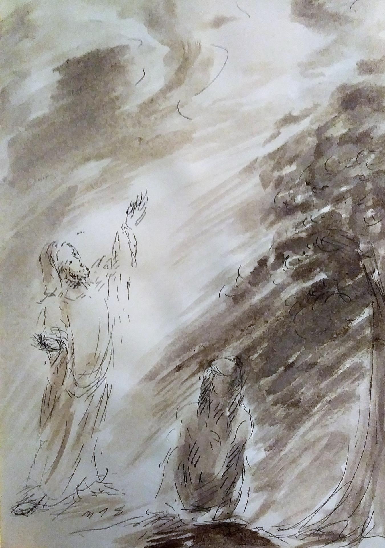 11 Avril 2018, évangile du jour illustré par un dessin au lavis