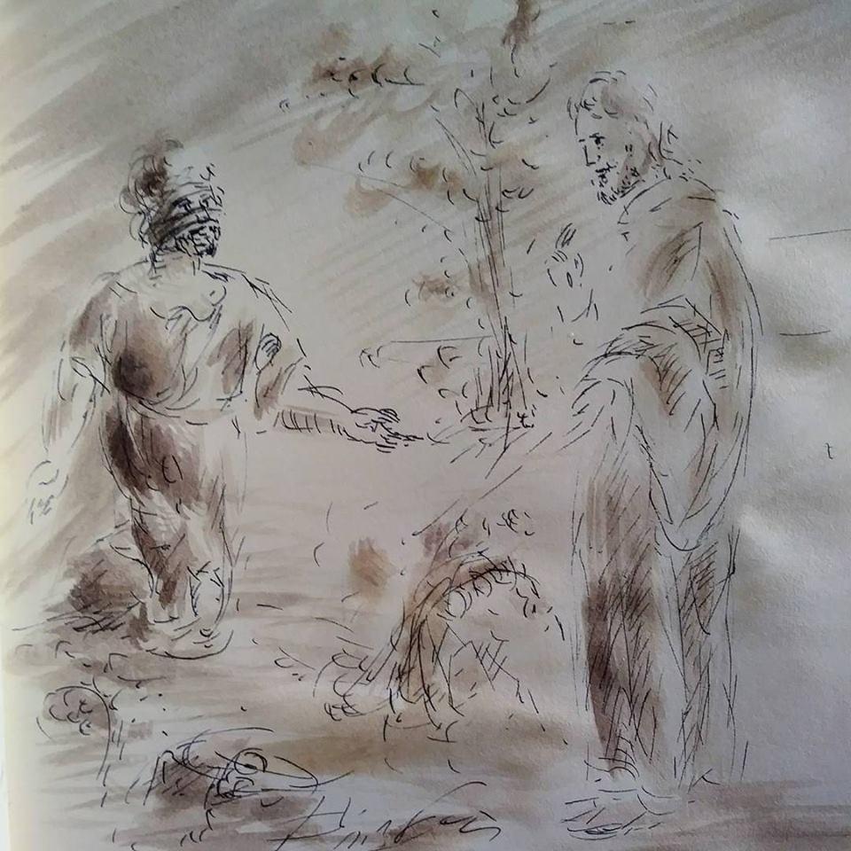 11 février 2018, évangile du jour illustré par un dessin au lavis