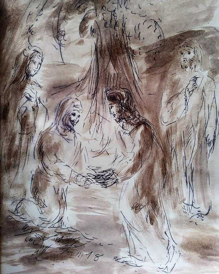 11 janvier 2018 image evangile du jour illustre par un dessin au lavis de jean joseph chevalier
