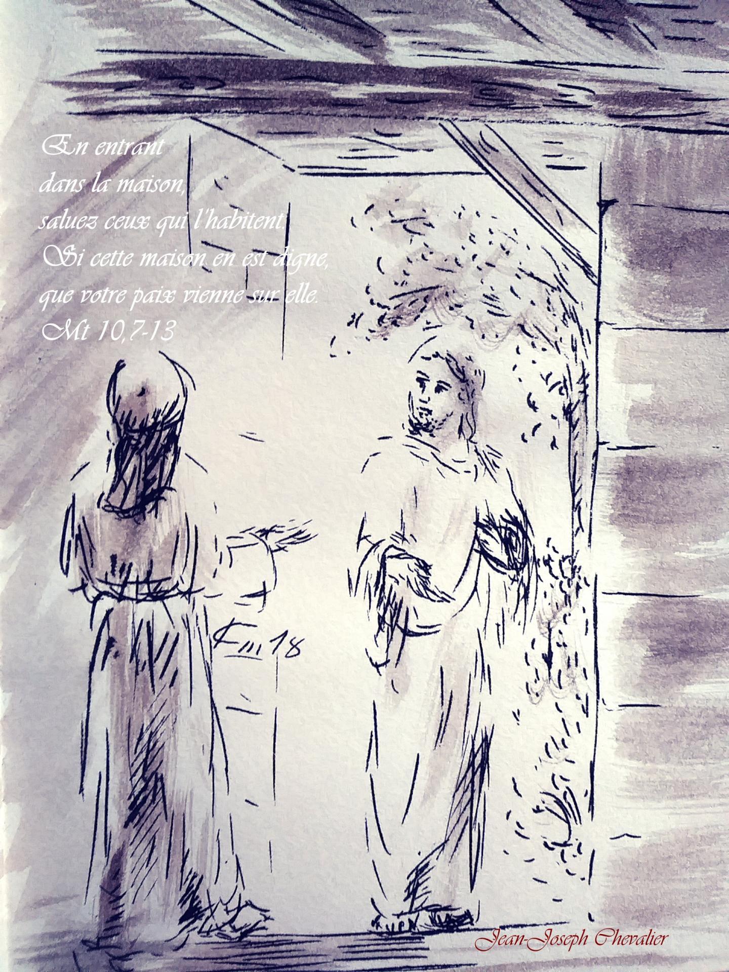 11 Juin 2018, évangile du jour illustré par un dessin au lavis
