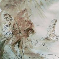 11 mars 2018 evangile du jour illustre par un dessin au lavis de jean joseph chevalier