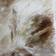 12 avril 2018 evangile du jour illustre par un dessin au lavis de jean joseph chevalier