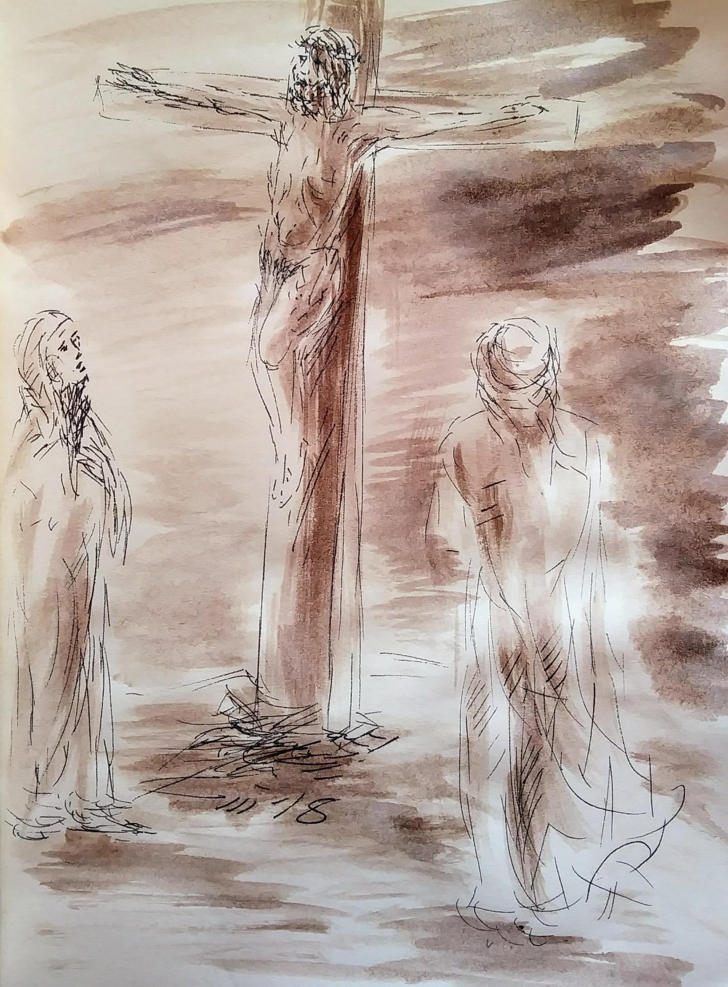 12 chemin de croix douzième station jesus meurt sur la croix dessin au lavis de jean joseph chevalier