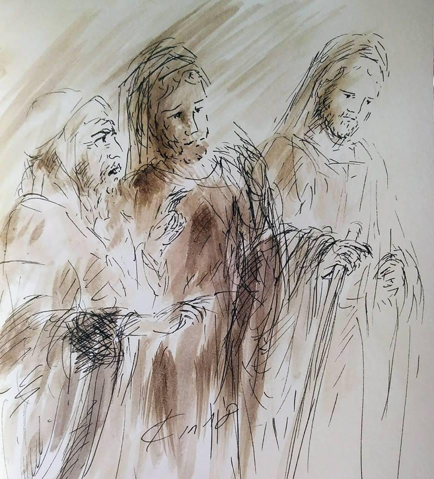 12 février 2018, évangile du jour illustré par un dessin au lavis