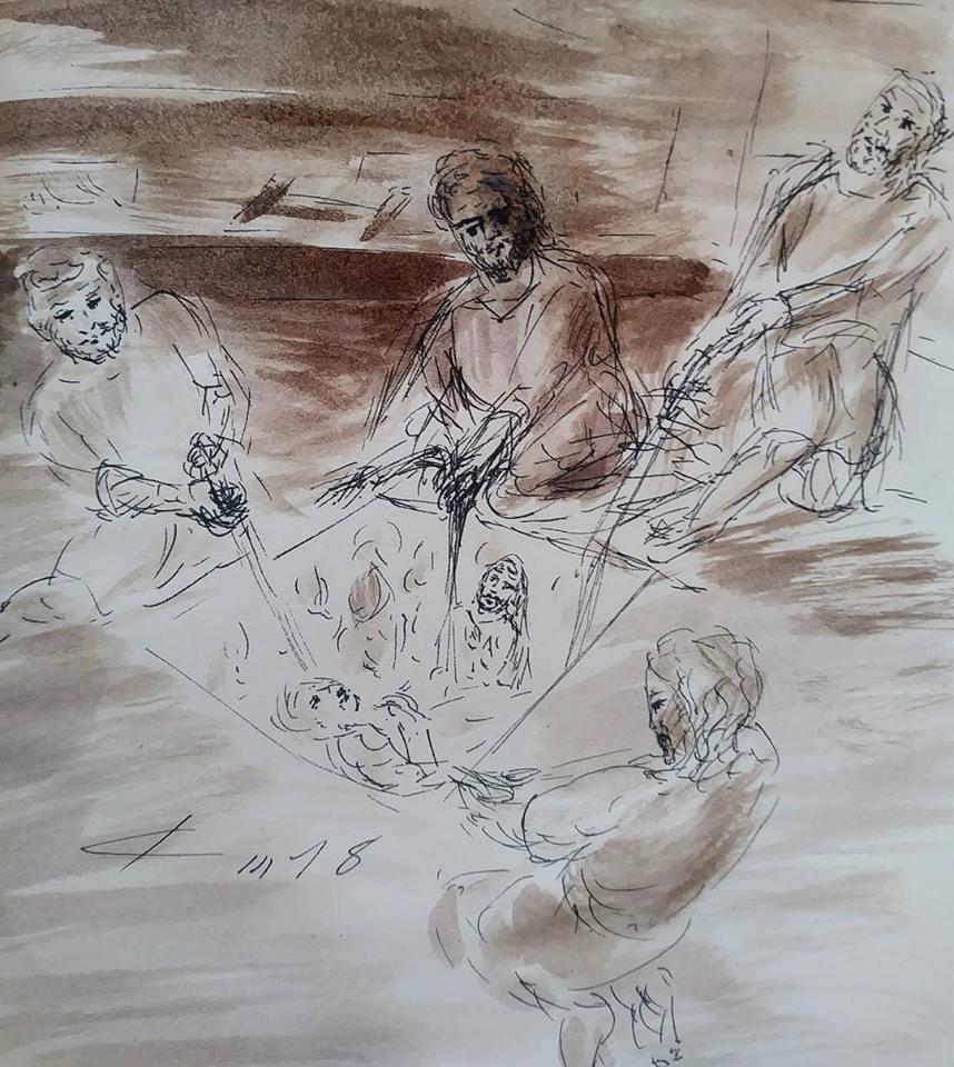 12 Janvier 2018, évangile du jour illustré par un dessin au lavis