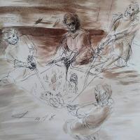 12 janvier 2018 image evangile du jour illustre par un dessin au lavis de jean joseph chevalier