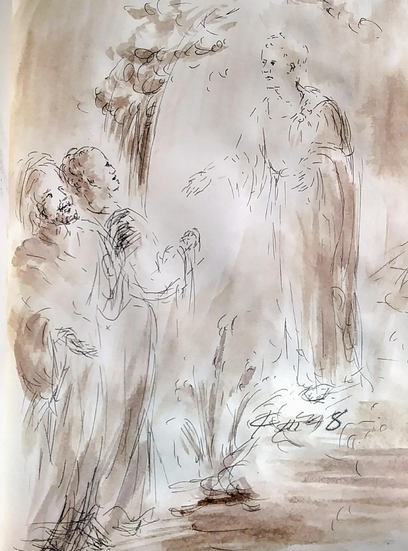 12 mars 2018 evangile du jour illustre par un dessin au lavis de jean joseph chevalier