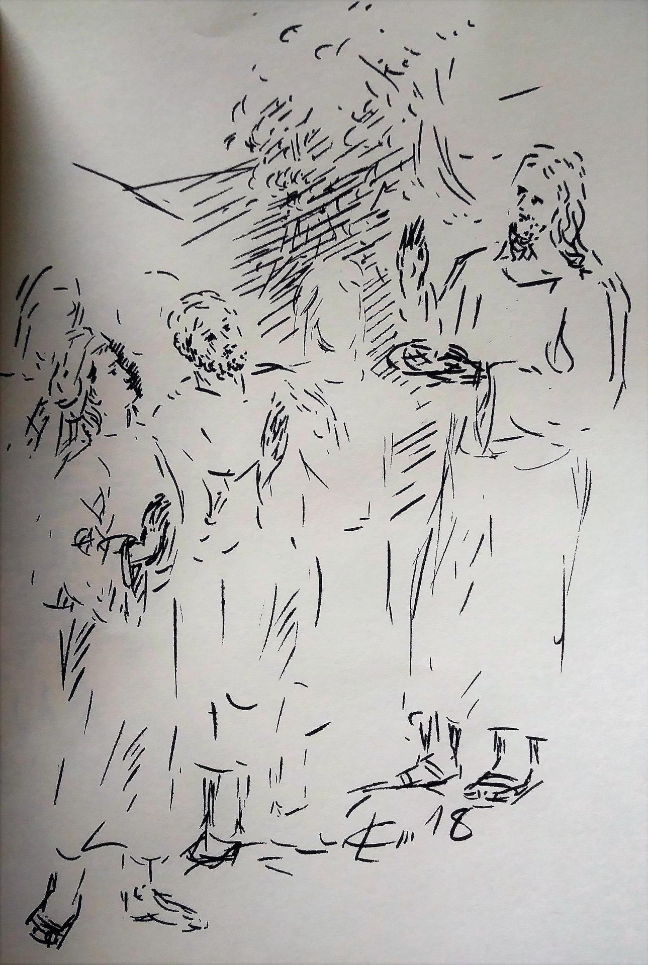 13 Avril 2018, évangile du jour illustré par un dessin au lavis
