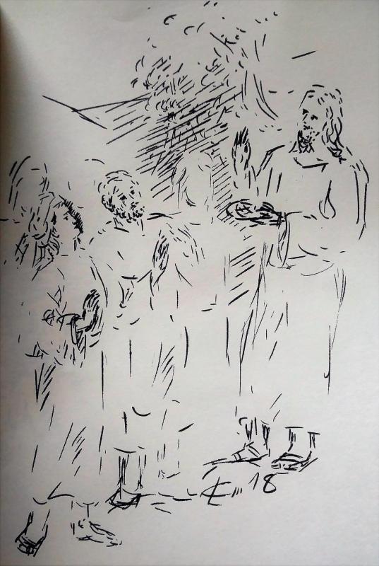 13 avril 2018 evangile du jour illustre par un dessin au lavis de jean joseph chevalier