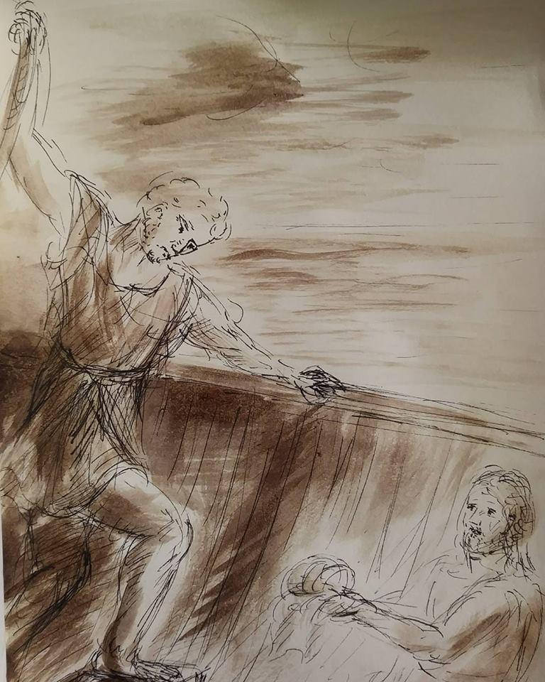 13 février 2018, évangile du jour illustré par un dessin au lavis