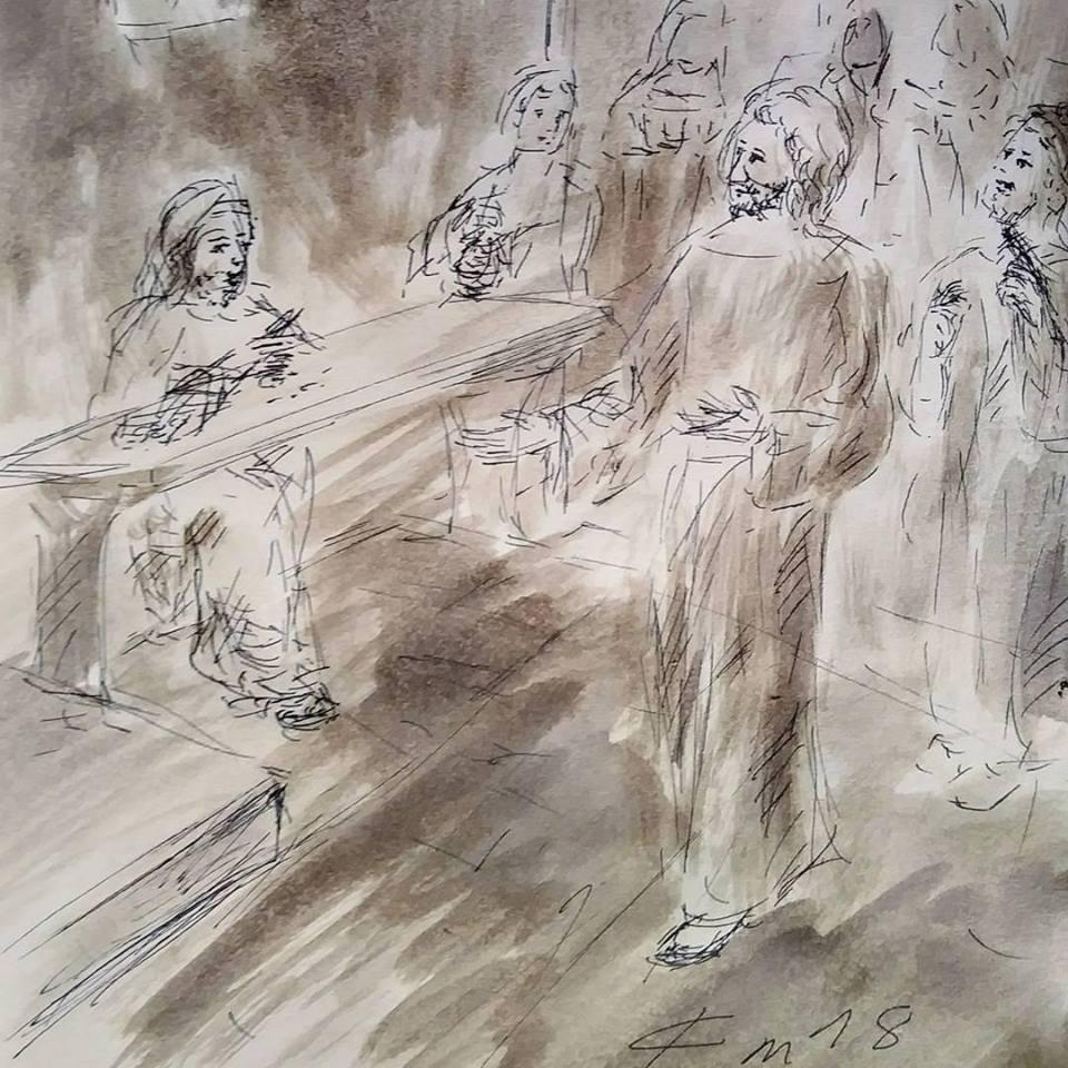 13 janvier 2018 image evangile du jour illustre par un dessin au lavis de jean joseph chevalier