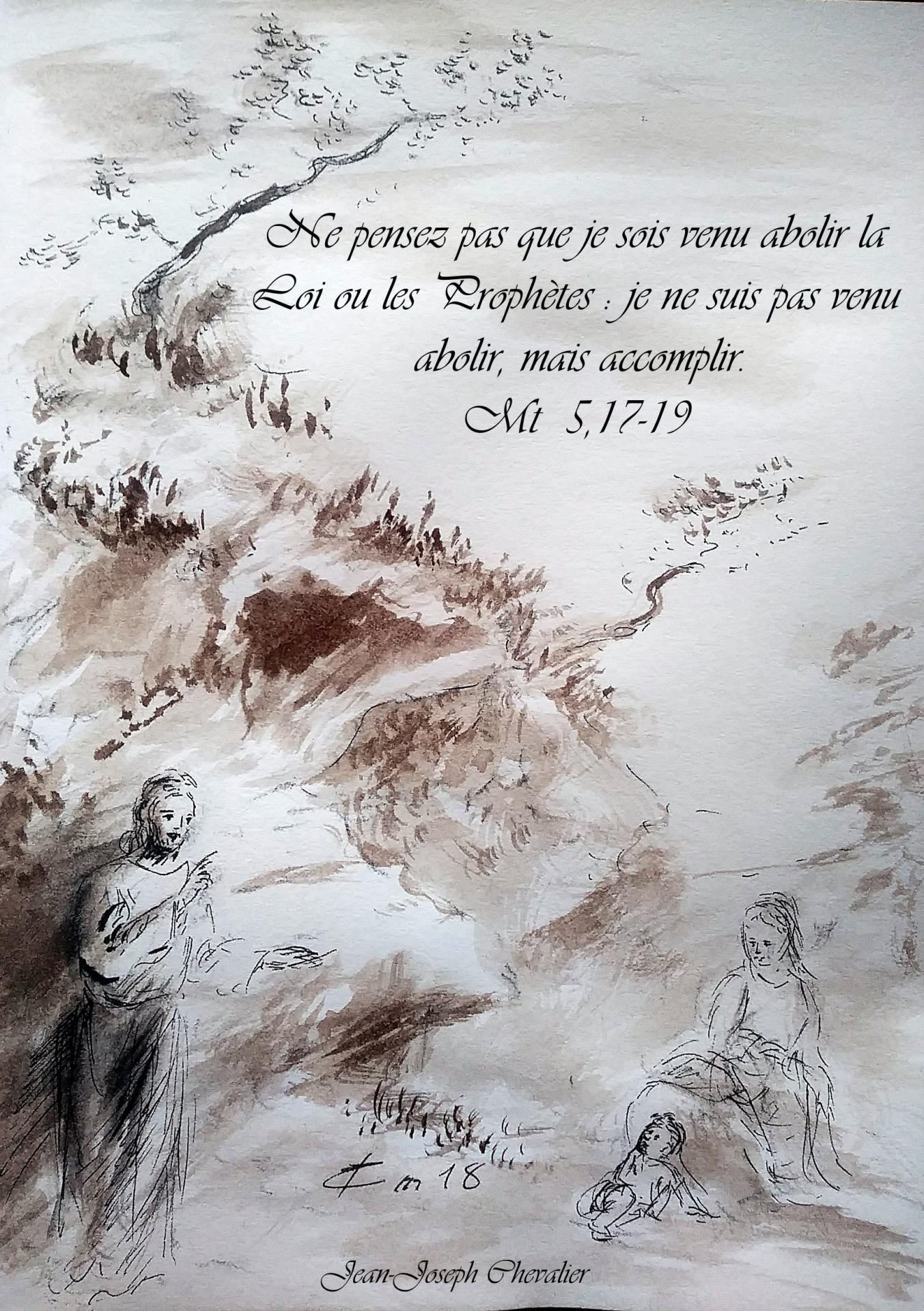 13 Juin 2018, évangile du jour illustré par un dessin au lavis