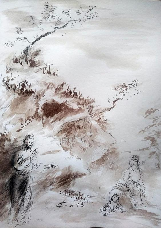 13 juin 2018 evangile du jour illustre par un dessin au lavis de jean joseph chevalier