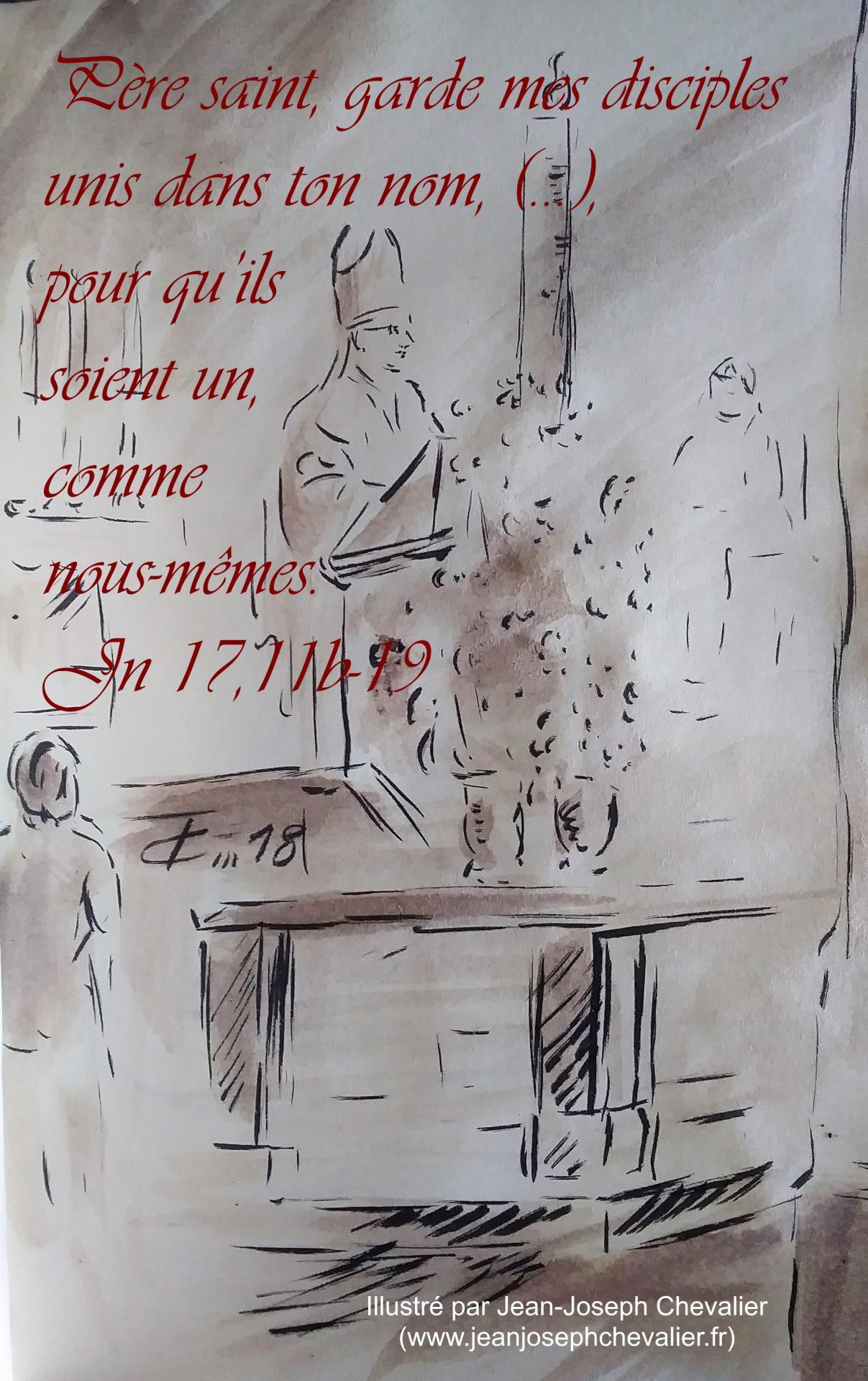 13 mai 2018 evangile du jour illustre par un dessin au lavis de jean joseph chevalier image