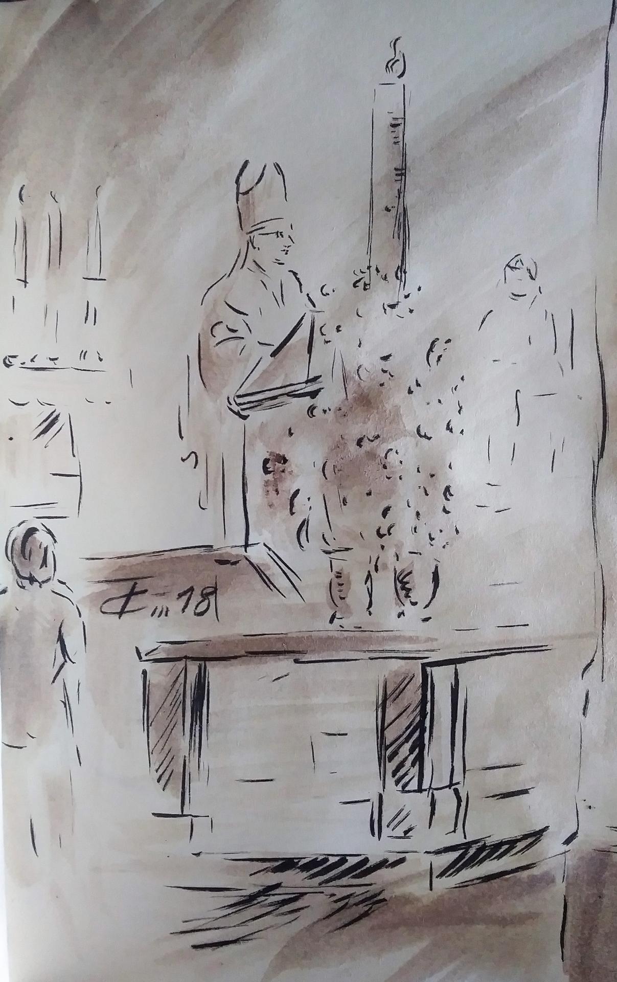 13 Mai 2018, évangile du jour illustré par un dessin au lavis
