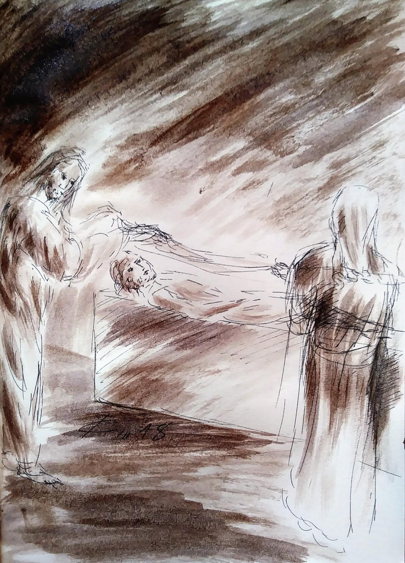 14 chemin de croix quatorzième station jesus est mis au tombeau dessin au lavis de jean joseph chevalier