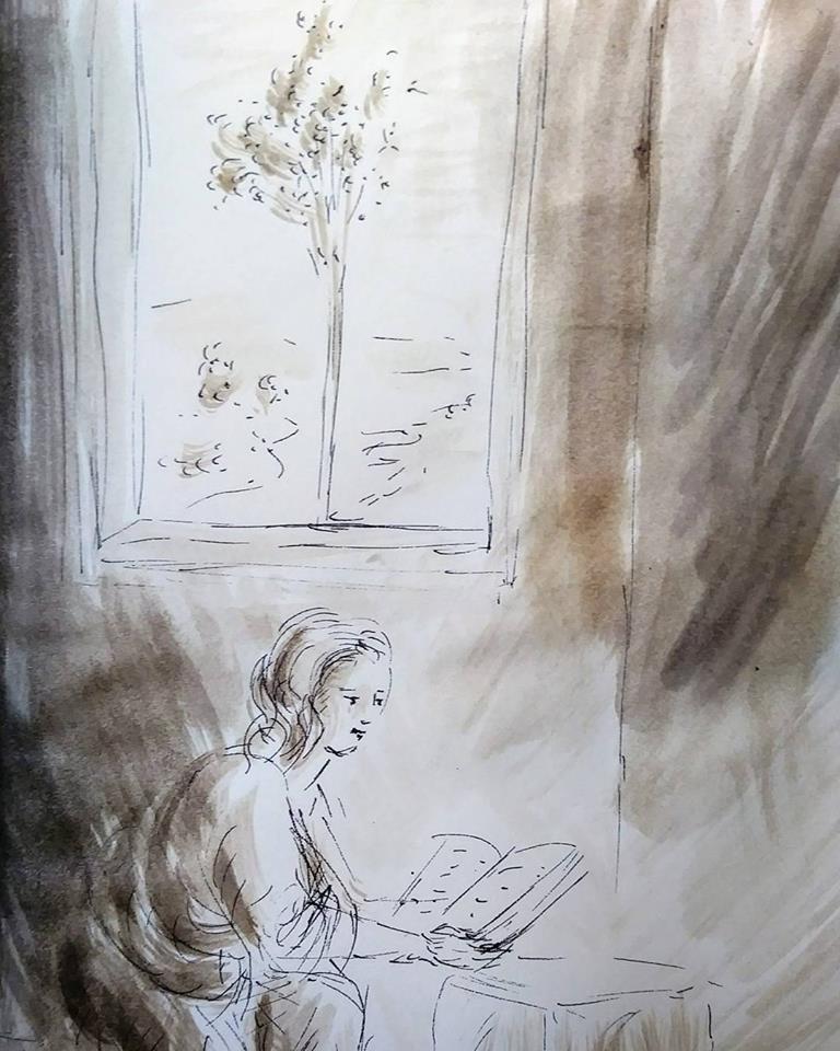 14 février 2018, évangile du jour illustré par un dessin au lavis