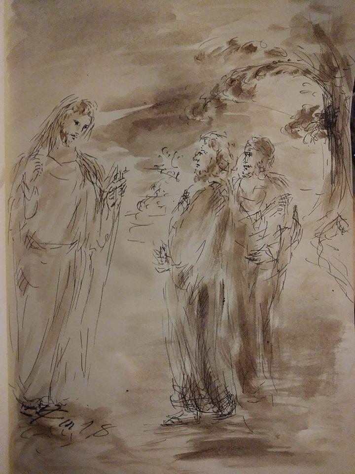 14 janvier 2018 image evangile du jour illustre par un dessin au lavis de jean joseph chevalier 1