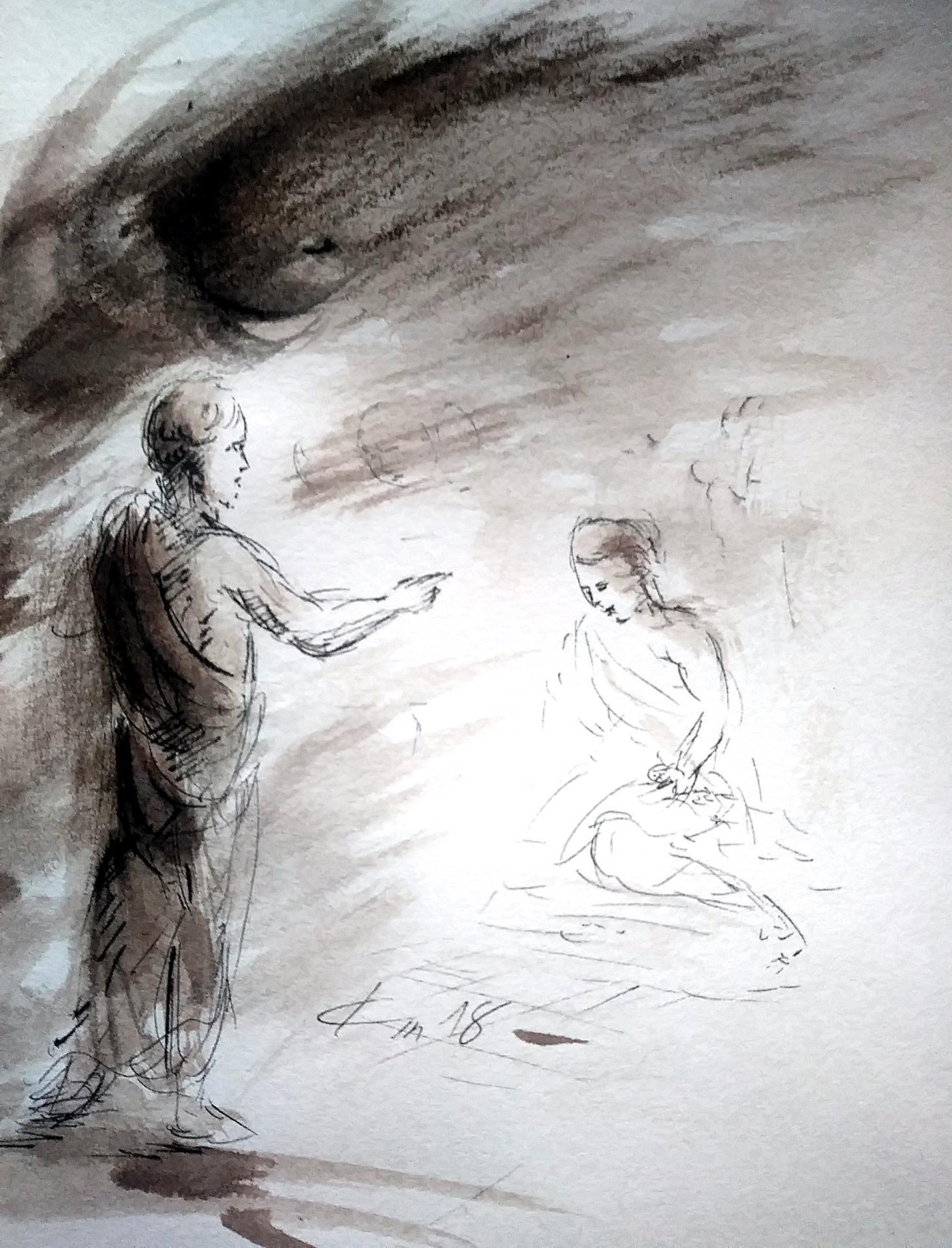 14 juin 2018 evangile du jour illustre par un dessin au lavis de jean joseph chevalier
