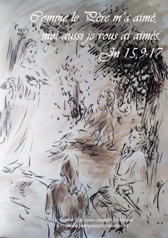 14 mai 2018 evangile du jour illustre par un dessin au lavis de jean joseph chevalier image