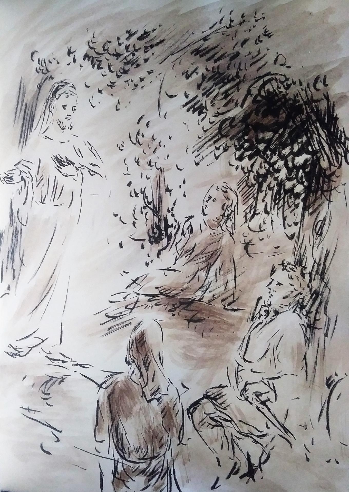 14 Mai 2018, évangile du jour illustré par un dessin au lavis