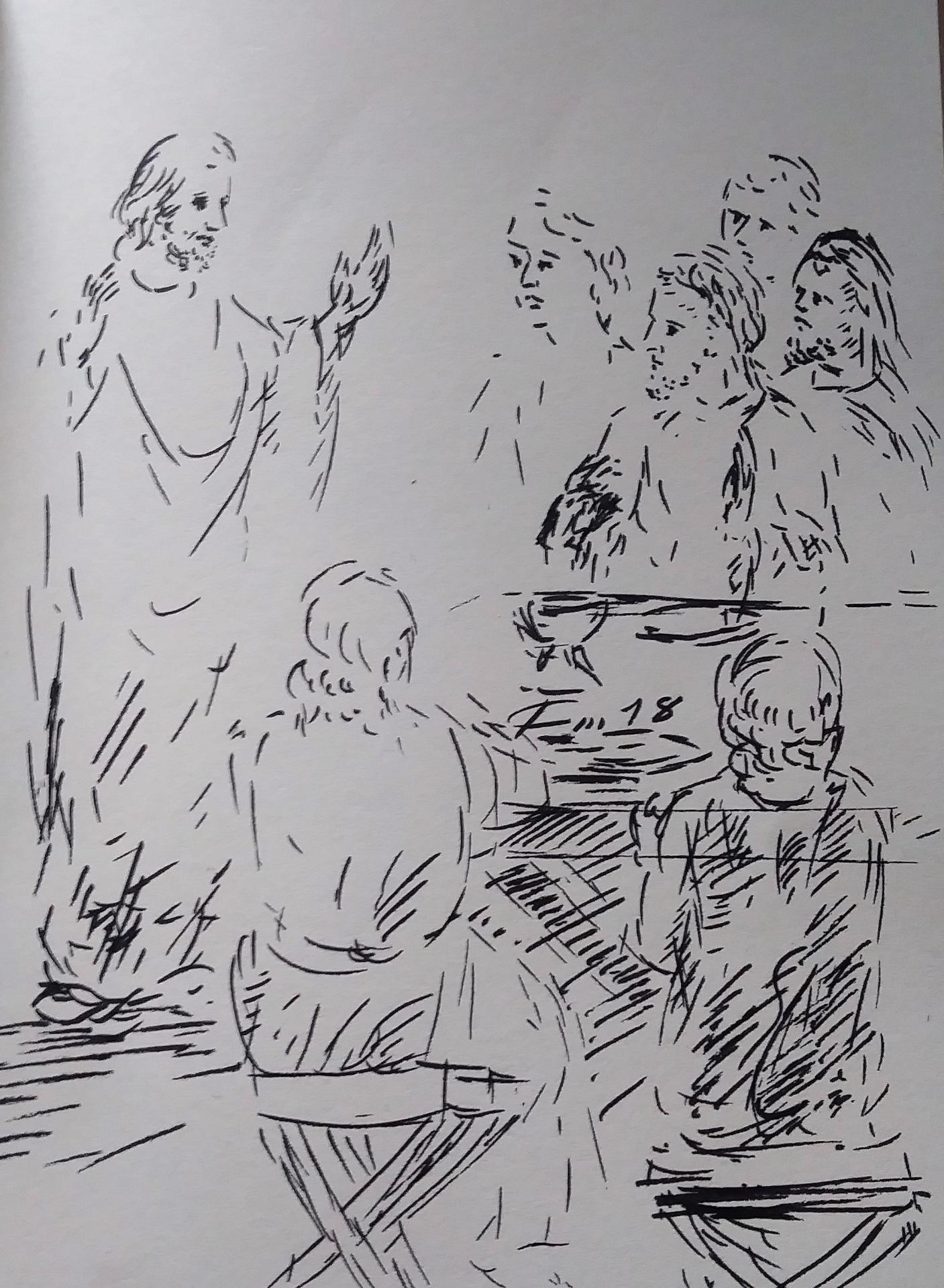 15 Avril 2018, évangile du jour illustré par un dessin au lavis