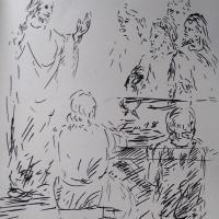 15 avril 2018 evangile du jour illustre par un dessin au lavis de jean joseph chevalier