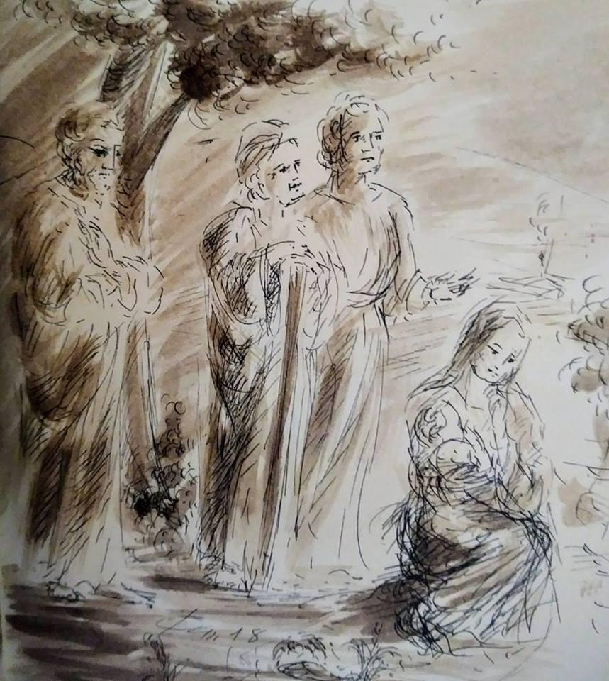 15 février 2018, évangile du jour illustré par un dessin au lavis