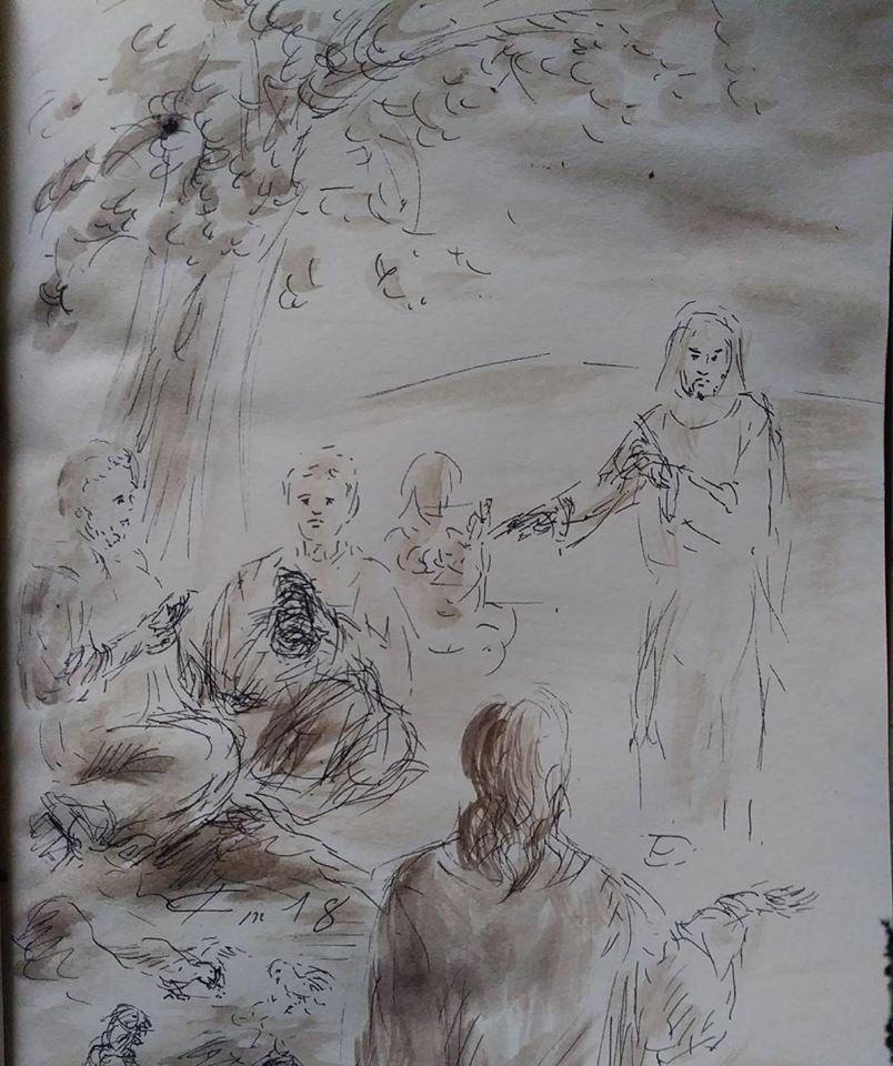 15 Janvier 2018, évangile du jour illustré par un dessin au lavis