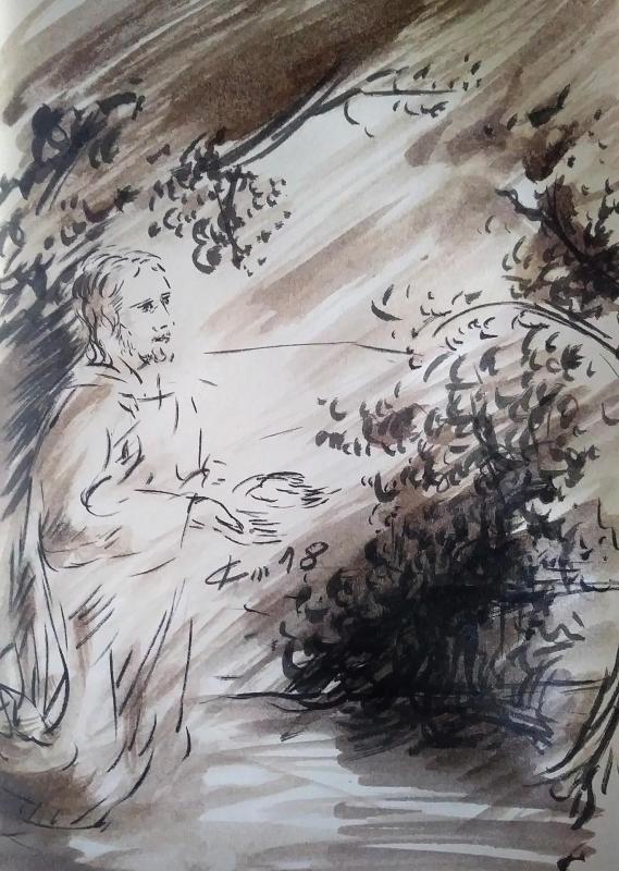 15 mai 2018 evangile du jour illustre par un dessin au lavis de jean joseph chevalier