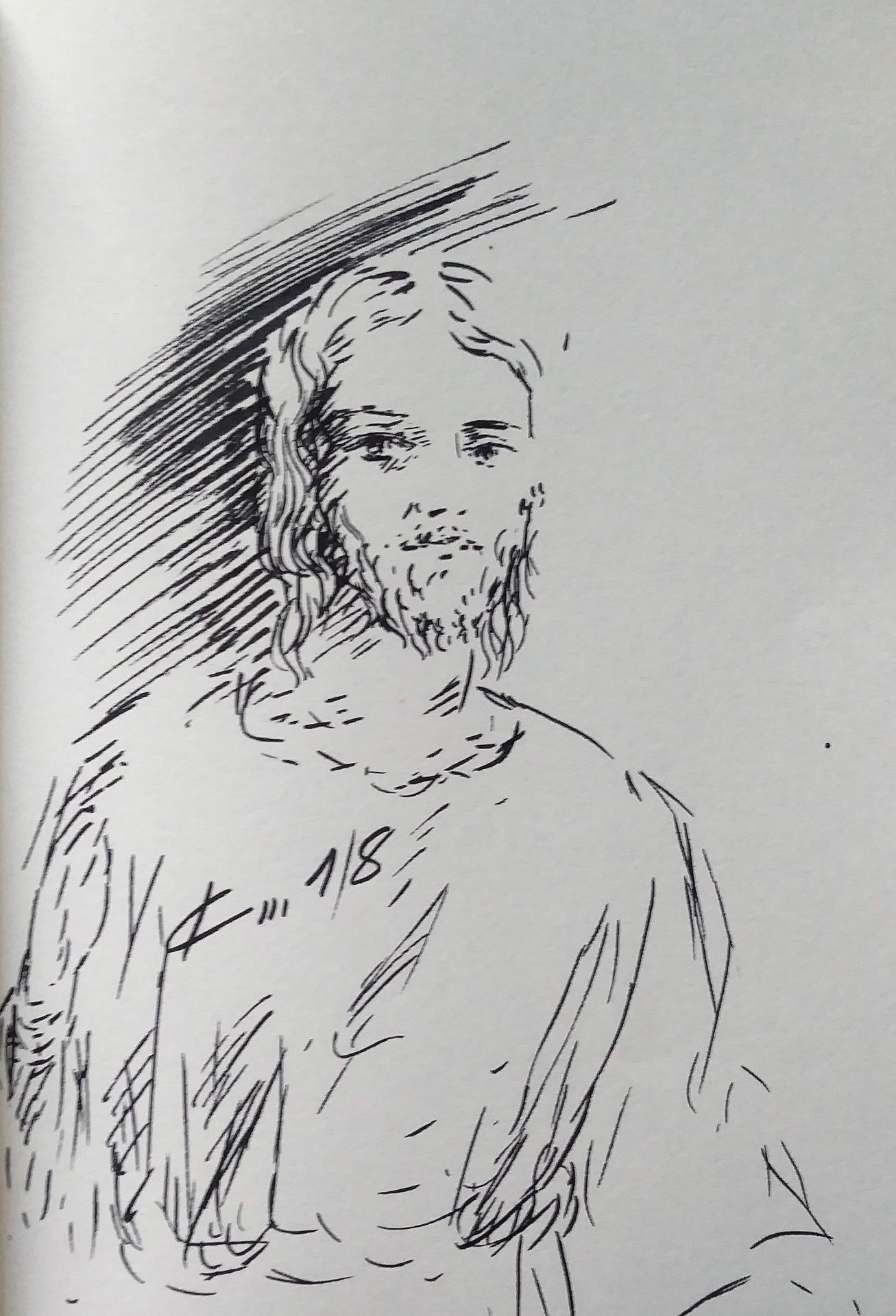 16 avril 2018 evangile du jour illustre par un dessin au lavis de jean joseph chevalier