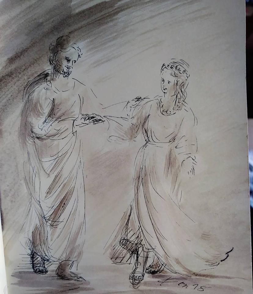 16 février 2018, évangile du jour illustré par un dessin au lavis