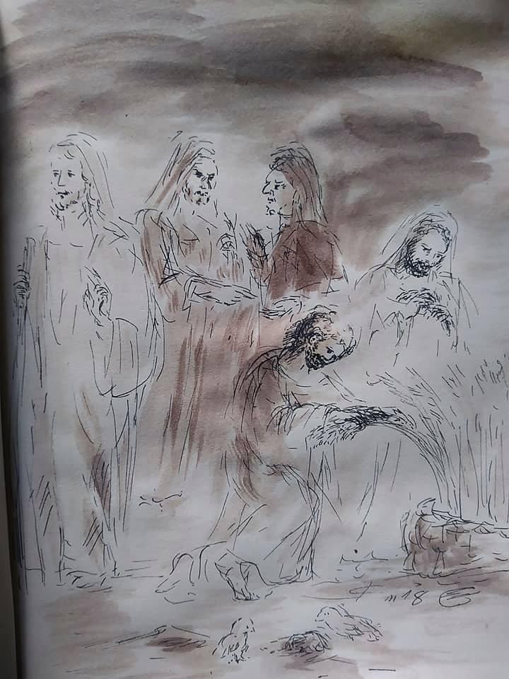 16 Janvier 2018, évangile du jour illustré par un dessin au lavis