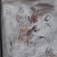 16 janvier 2018 image evangile du jour illustre par un dessin au lavis de jean joseph chevalier