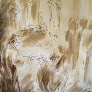16 mars 2018 evangile du jour illustre par un dessin au lavis de jean joseph chevalier