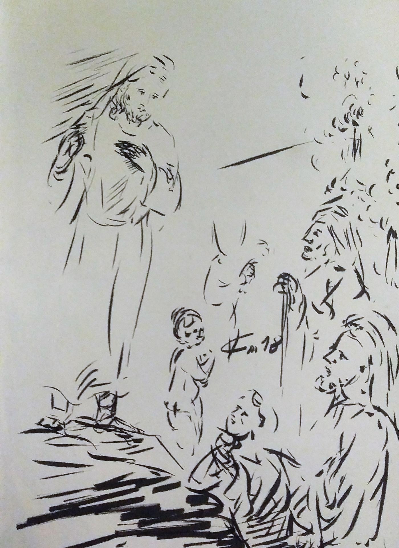 17 Avril 2018, évangile du jour illustré par un dessin à l'encre de chine